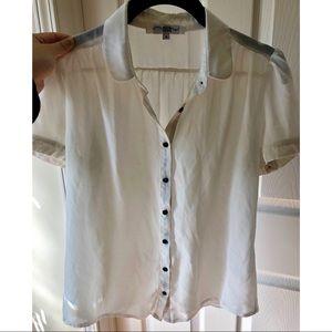ASOS White Sheer Short Sleeve Button-Down Top XS